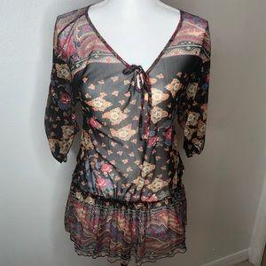 Bershka top. Sheer size large.  Black and pink